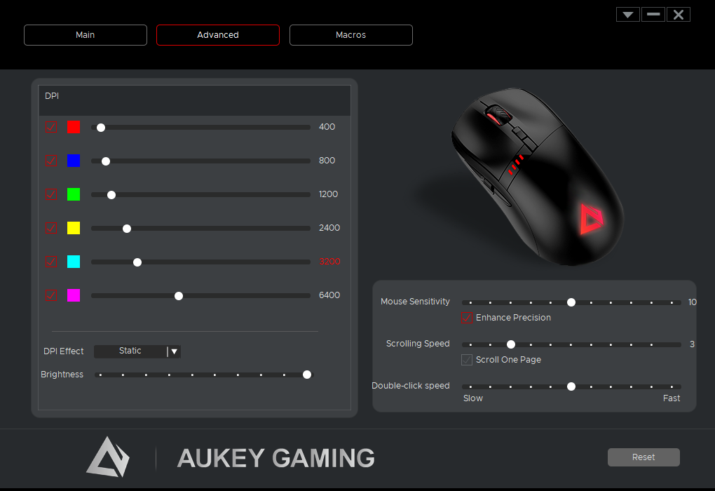 Software AUKEY, Finestra Advanced