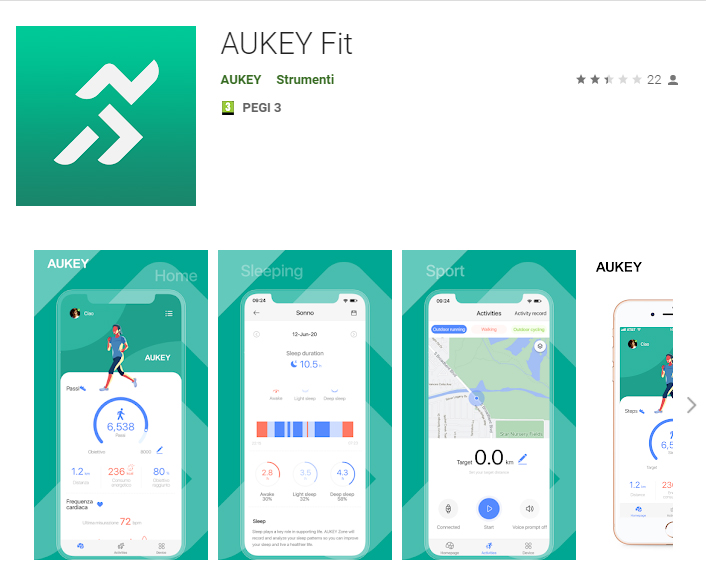 Smartwatch AUKEY Anteprima App AUKEY Fit