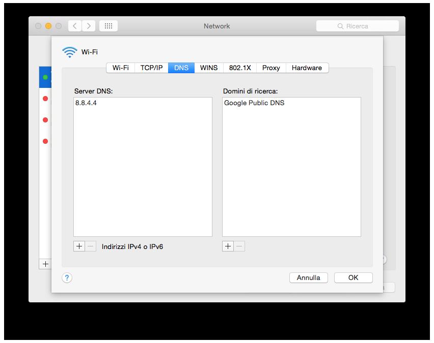 Finestra Cambio DNS Mac - Geekmag.it