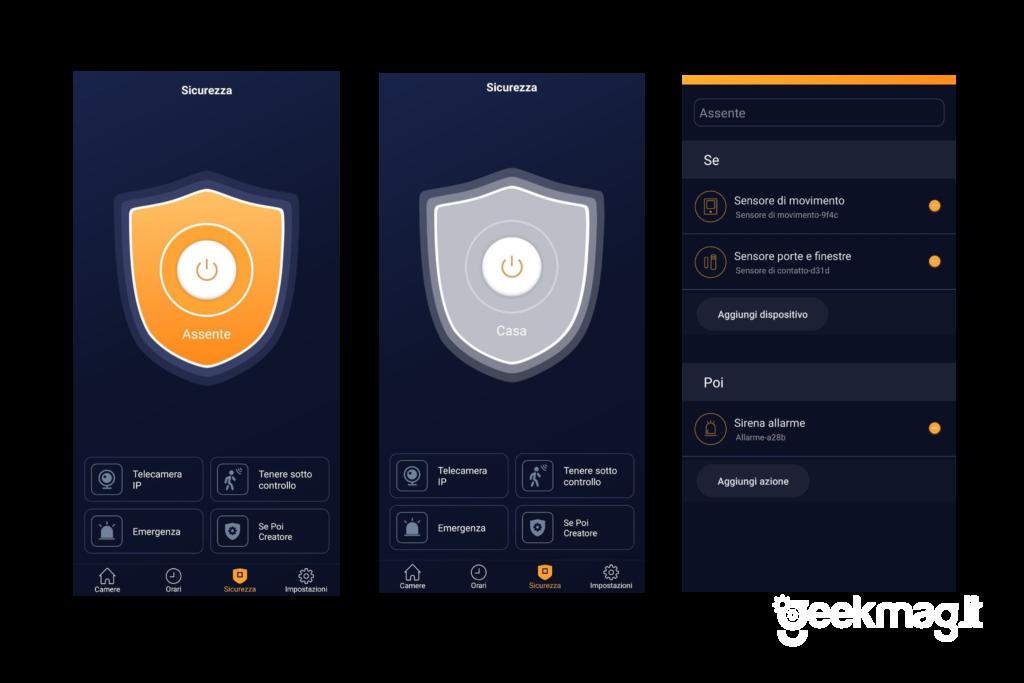 AduroSmart ERIA - Schermate App per la sezione sicurezza