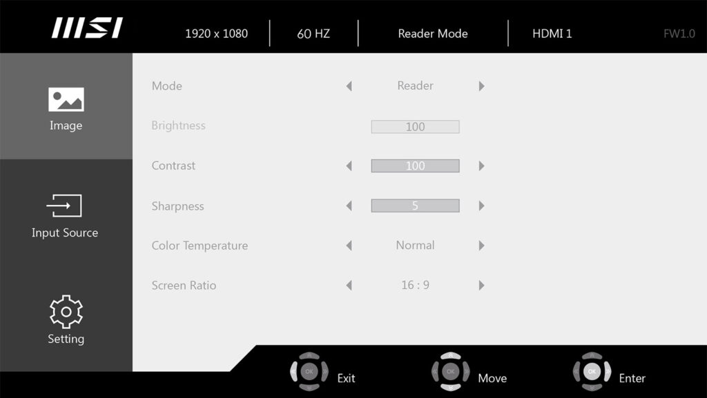 PC All-In-One Modern MSI AM271P - Menù OSD